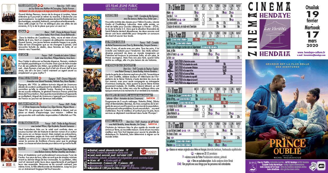 Programme de février-mars du cinéma